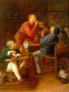 """""""Rökarna (eller Moerdijks bönder)"""" av Adriaen Brouwer. (Första halvan av 1600-talet) Bild från Wikimedia Commons."""