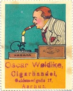 Äldre dansk reklametikett (anv. som brevmärke). (Bilden används med tillstånd från sajten filatelisten.dk.)