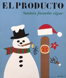 Klassisk julreklam för den amerikanska cigarren El Producto.