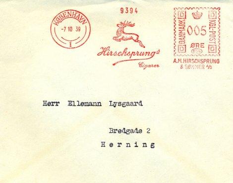 I frankostämpeln kan ses Hirschsprungs berömda hjort i språng. (Bilden används med tillstånd från sajten filatelisten.dk.)
